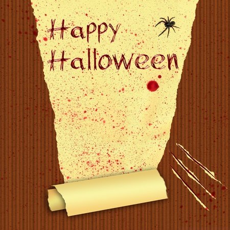 Happy Halloween wall illustration with a spider  Torn wallpaper and scratching marks with many blood splashes
