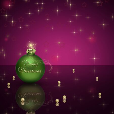 Glamourous Christmas illustration  A green Christmas ball with Merry Christmas lettering and golden pearls on a purple bokeh background  Stock Photo