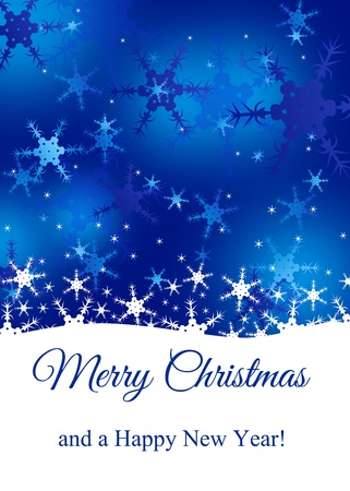 White and blue snowflakes with a Merry Christmas greeting  Stock Photo