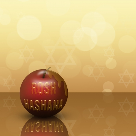 rosh: Rosh Hashana Illustration  red apple with honey written Rosh Hashana on a bokeh background