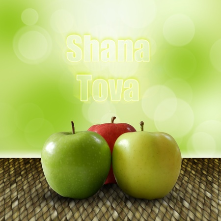 shofar: Rosh Hashana Illustration  3 apples on weaving wood with Shana Tova greeting on a bokeh background