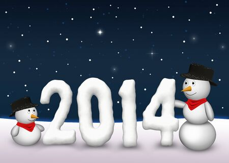 2 cute snowmen are looking to the snowy number of the year 2014