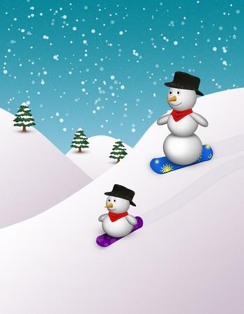 2 cute snowboarding snowmen in a snowy winter scene
