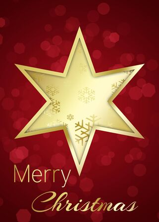 A golden star with snowflakes on a red bokeh background with Merry Christmas greeting  Stock Photo