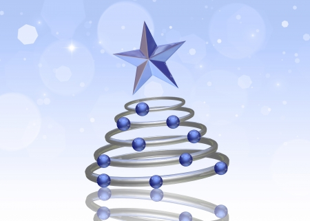Abstract 3D illustration  A chrome Christmas tree with blue ornaments and a star topper on a light blue bokeh background