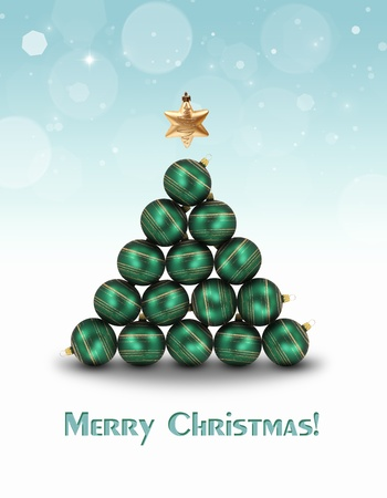 Abstract illustration  Green ornaments and a golden star topper are building a christmas tree on a light blue bokeh background  Stock Photo