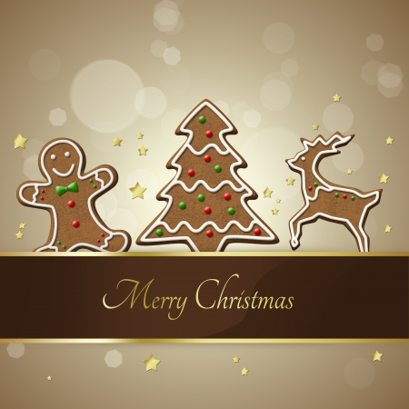 Elegant and delicious Christmas illustration  Decorated gingerbread Christmas tree.