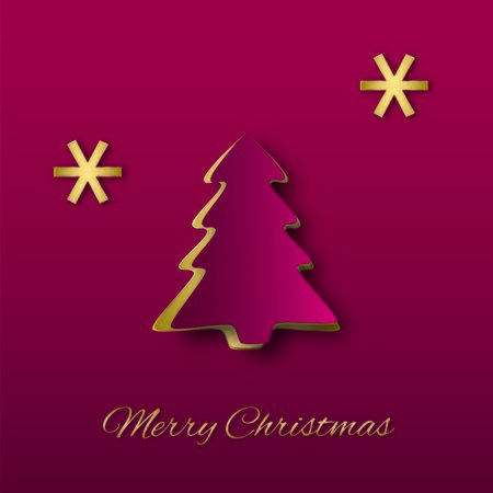 Abstract elegant Christmas illustration  Red paper Christmas tree with golden snowflakes