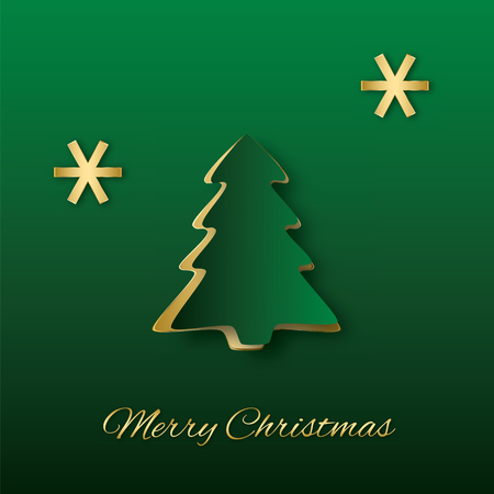 Abstract elegant Christmas illustration  Green paper Christmas tree with golden snowflakes  Illustration