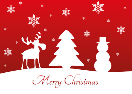 Abstract Christmas illustration  white silhouettes of reindeer, tree, snowman and snowflakes with Merry Christmas greeting