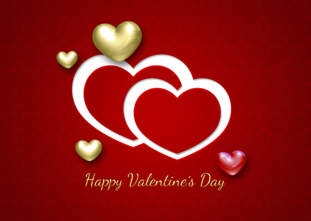Elegant and modern Valentines Day illustration  2D and 3D hearts on a red patterned background with greeting