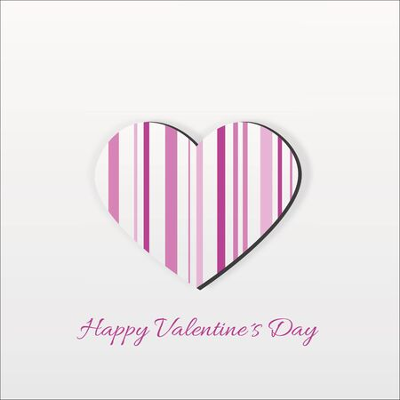 Abstract and modern Valentines Day illustration  A pink striped heart on a light background with Valentine greeting