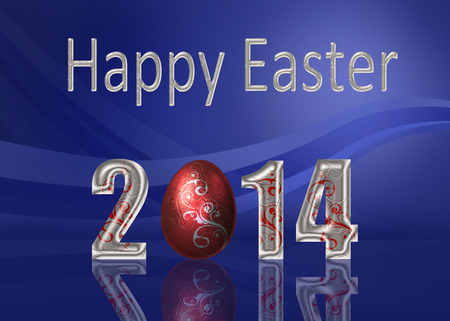 A glamourous Easter illustration  Silver  Happy Easter 2014  lettering with a red metalic style easter egg with silver swirls on an elegant blue background