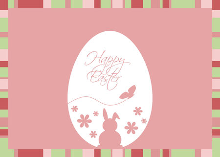 Vector illustration with an Easter egg coloured with silhouettes of a rabbit, butterfly, flowers and Easter greeting on a  pink background with a striped frame