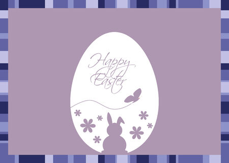 Vector illustration with an Easter egg coloured with silhouettes of a rabbit, butterfly, flowers and Easter greeting on a  blue-purple background with a striped frame