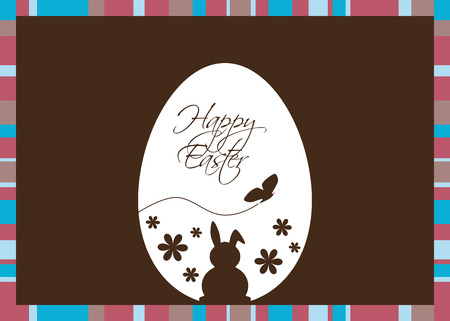 Vector illustration with an Easter egg coloured with silhouettes of a rabbit, butterfly, flowers and Easter greeting on a  brown background with a striped frame