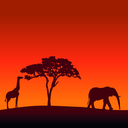 serengeti: African safari silhouette vector background with a giraffe, a tree and an elephant