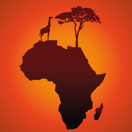 African safari map silhouette vector background with a giraffe, a tree and an elephant  Illustration