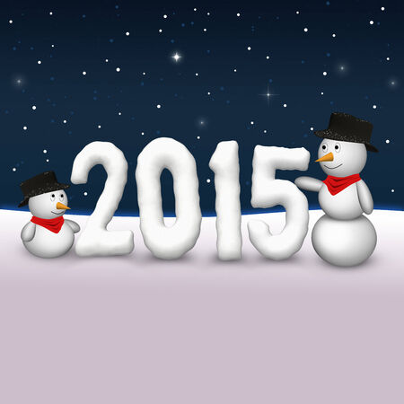 2 cute snowmen are looking to the snowy number of the year 2015.