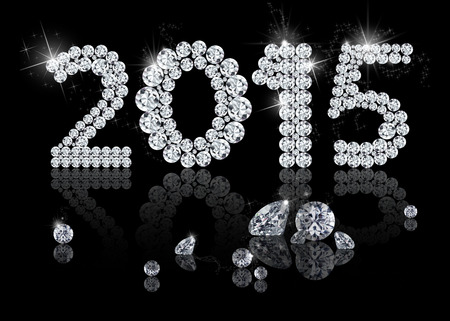 Brilliant New Year 2015 is a diamond jewelry illustration on a black background.