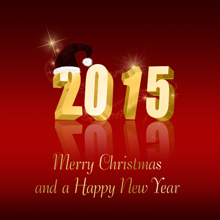 Christmas and New Year illustration: Golden letters in 2015 with a Santa hat on a red background. Stock Photo
