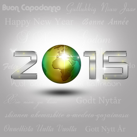 New Year Illustration: A golden globe with shiny silver number 2015 on a light gray background with New Year greetings in different languages.