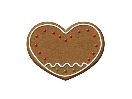 Gingerbread Heart isolated on a white background.