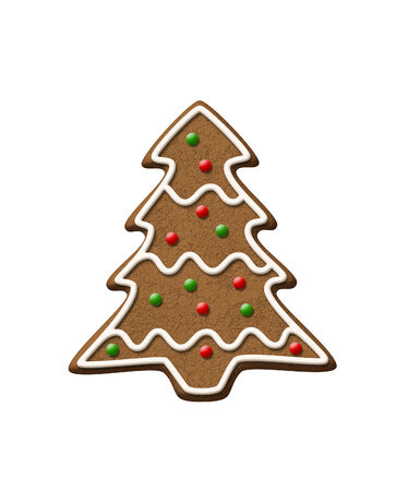 gingerbread cake: Gingerbread Tree isolated on a white background. Stock Photo