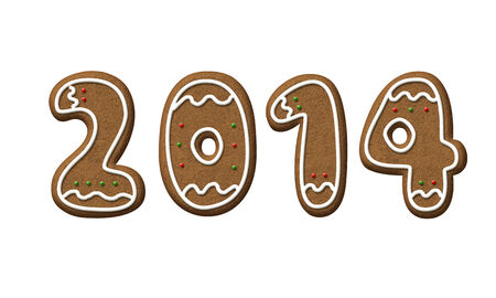 Gingerbread Year 2014 isolated on a white background.