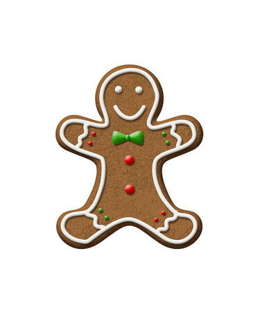 Gingerbread Man isolated on a white background.