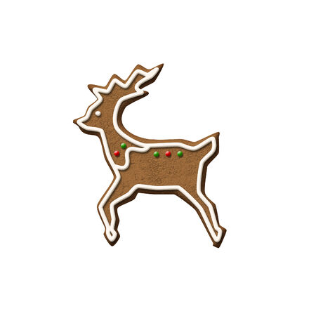 Gingerbread Reindeer isolated on a white background. Stock Photo