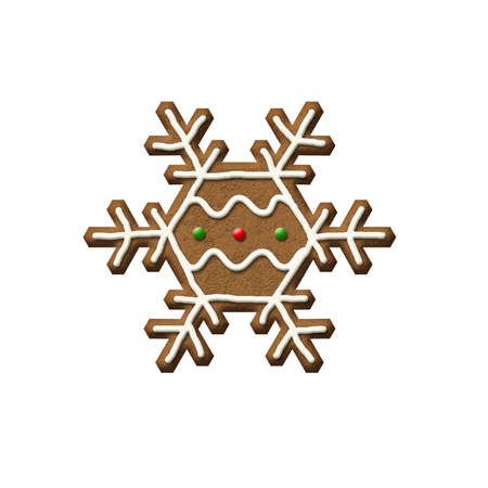 Gingerbread Snowflake isolated on a white background.