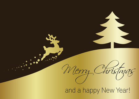 Elegant golden Christmas illustration: golden silhouette of reindeer and tree with Merry Christmas greeting on a brown background.