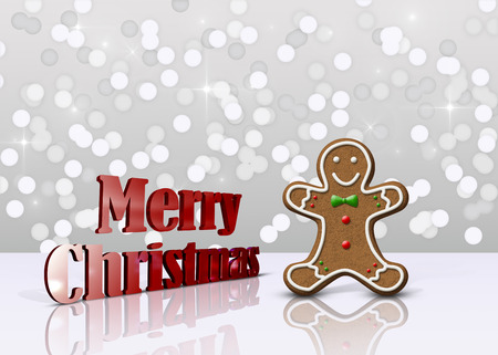 Delicious Christmas illustration: Decorated gingerbread man and red metallic 3D greeting on a light background bokeh glamourous.