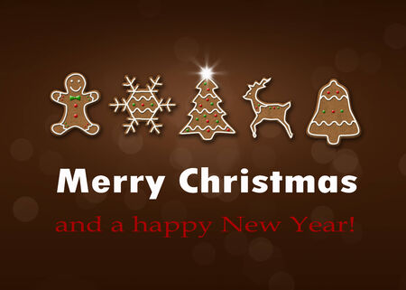 Delicious Christmas illustration: Decorated gingerbread with Christmas greeting on a brown background bokeh.