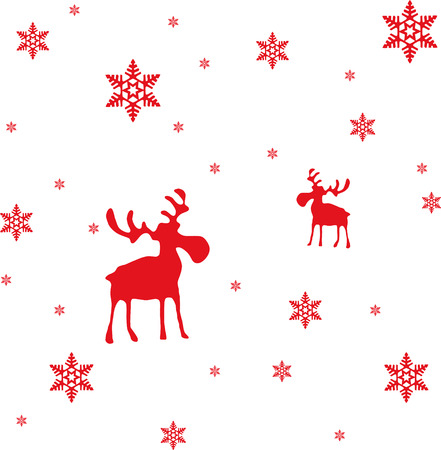 A modern and abstract Christmas and Winter illustration: Red moose and red snowflakes.