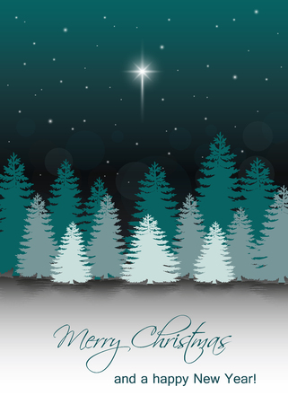 Christmas Night illustration with the star of Bethlehem on the night sky with silhouettes of fir trees.