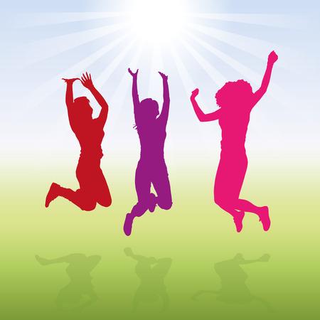 Vector illustration of jumping 3 women  girls.