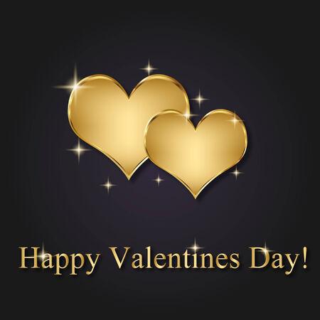 Elegant and modern Valentines Day illustration: 2 golden hearts on a dark background with Valentine greeting. Illustration