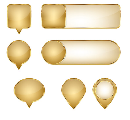 Blank Elegant Golden Vector Web Buttons Pins and Sliders