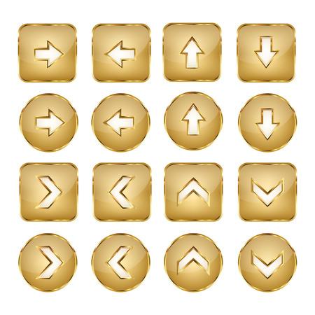 Elegant Golden Arrows Vector Web Buttons Illustration