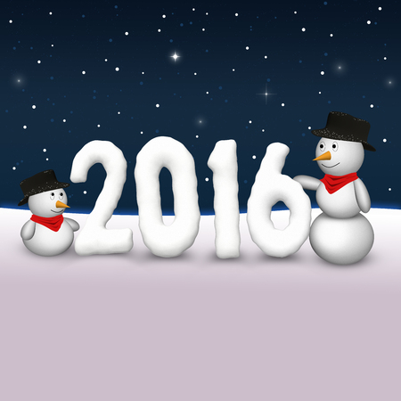2 cute snowmen are looking to the snowy number of the year 2016th