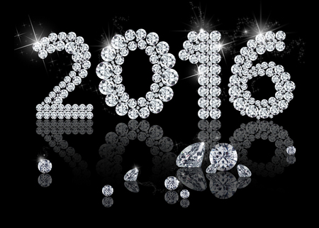 Brilliant New Year 2016 is a diamond jewelry illustration on a black background.