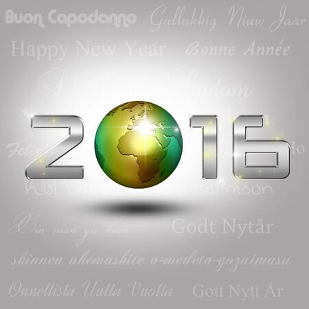 A golden globe with shiny silver number 2016 on a light gray background with New Year greetings in different languages. Stock Photo