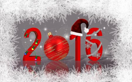 The year 2016 decorated with Happy Christmas elements on a background mixed with bokeh and stars and the white tree branches border. Stock Photo