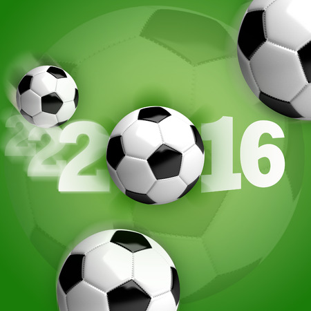 Soccer balls (footballs) in motion on a green background with white lettering 2016.