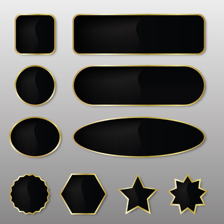 Set of 10 elegant black with gold web buttons with different shapes. Illustration
