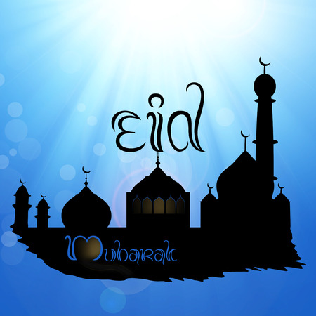 Eid Mubarak illustration: Black silhouette of a mosque on a blue sky with sun and sunrays, greetings and wishes for oath.