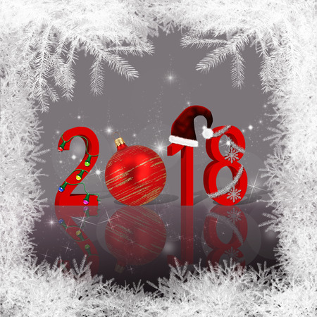 Christmas and New Year illustration: 2018 stock photography Christmas background with snowflake, snowflake and stars. Stock Photo