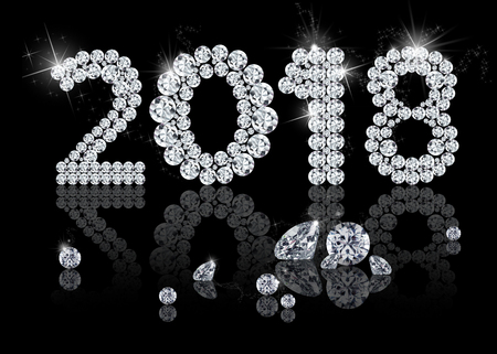 royality: Brilliant New Year 2018: elegant, precious, elegant and luxury diamond jewelry illustration with sparkles on a black background.